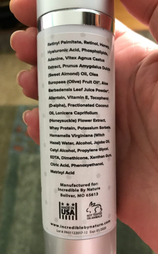 Incredible by Nature Eye Gel ingredient list, neversaydiebeauty.com