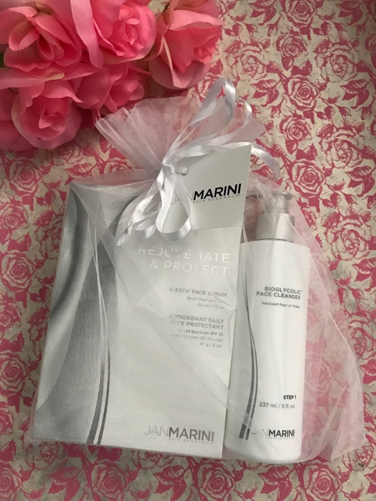 Jan Marini Skin Research skincare products in net bag, neversaydiebeauty.com