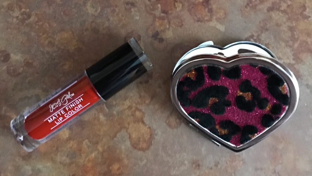 Jesse's Girl Matte Finish Lip Color, Sultry, and heart-shaped leopard print mirror, neversaydiebeauty.com