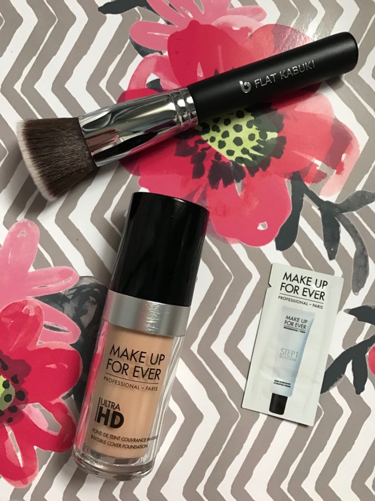 MAKE UP FOR EVER UltraHD Foundation, liquid, and Beauty Junkees Flat Kabuki brush, neversaydiebeauty.com