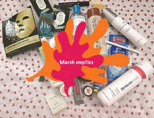 March 2017 beauty empties with title on the photo, neversaydiebeauty.com