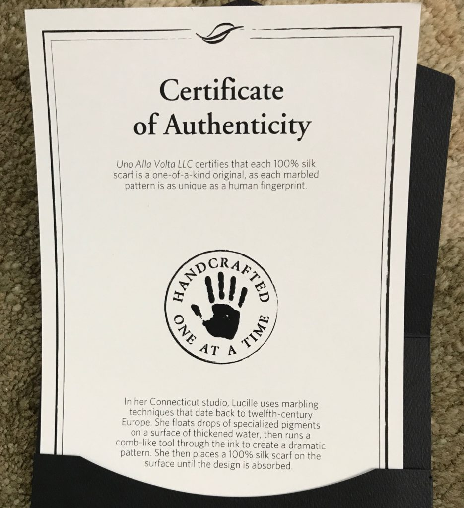 certificate of authenticity from Uno Alla Volta for water marble scarf, neversaydiebeauty.com