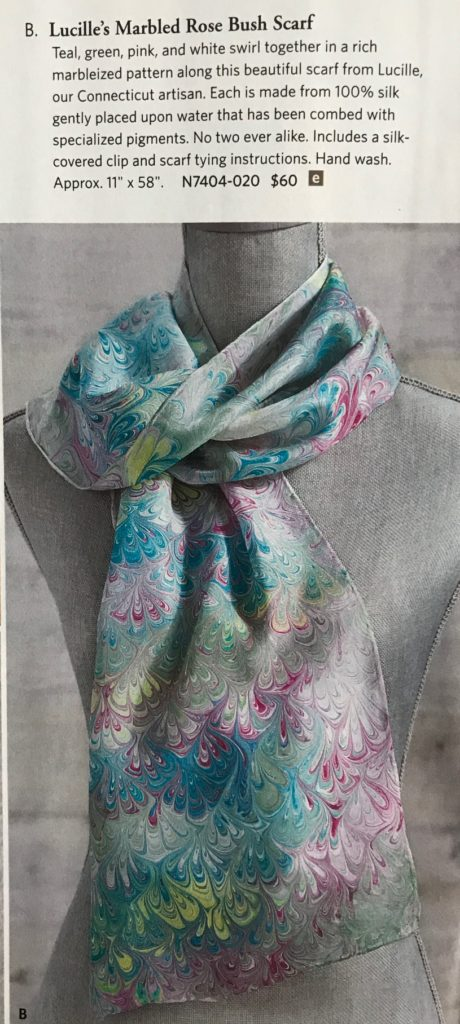 Uno Alla Volta Lucille's Rose Bush water marble silk scarf in the catalogue, neversaydiebeauty.com