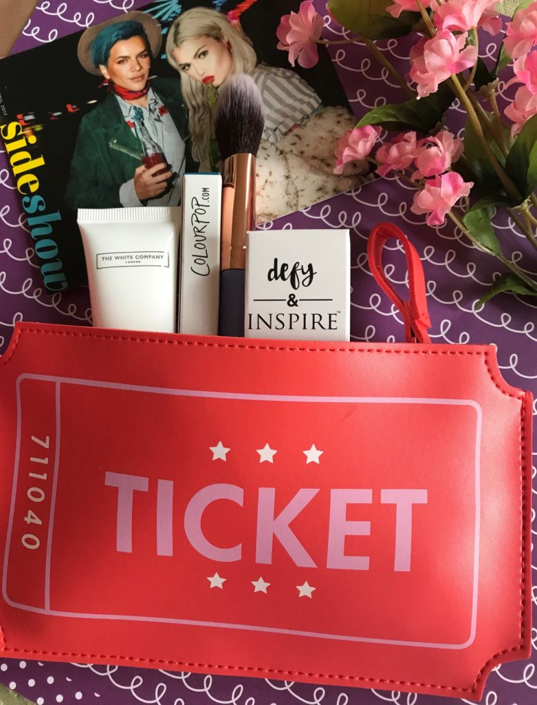 ipsy bag with Side Show theme card and bag for April 2017, neversaydiebeauty.com