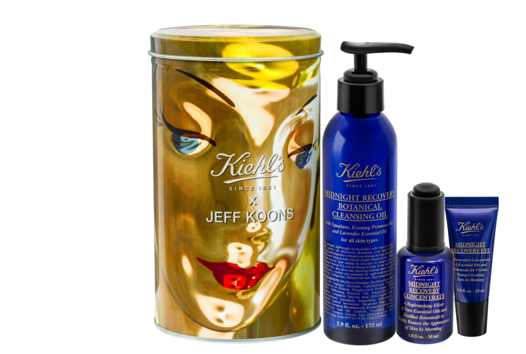 Jeff Koons-designed cosmetic tin and Kiehls Midnight Recovery skincare range, neversaydiebeauty.com