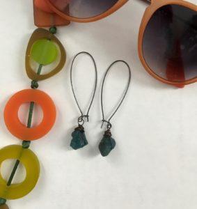 cropped photo of Chrysalism raw gemstone dangle earrings, neversaydiebeauty.com