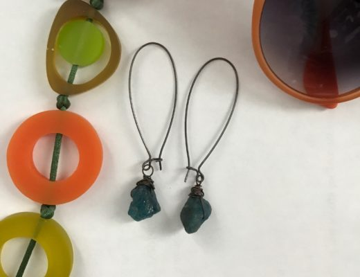 cropped photo of Chrysalism raw gemstone dangle earrings, neversaydiebeauty.com