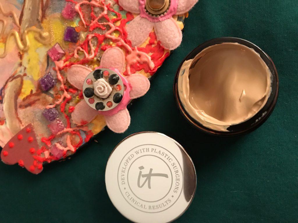 IT Cosmetics Bye Bye Redness, open jar to show the shade Neutral Beige, neversaydiebeauty.com