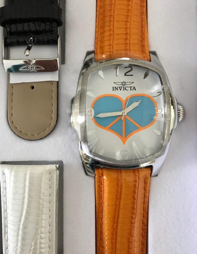 closeup of face of Invicta Lupah Watch from the Peace & Love Jewelry Collection, neversaydiebeauty.com