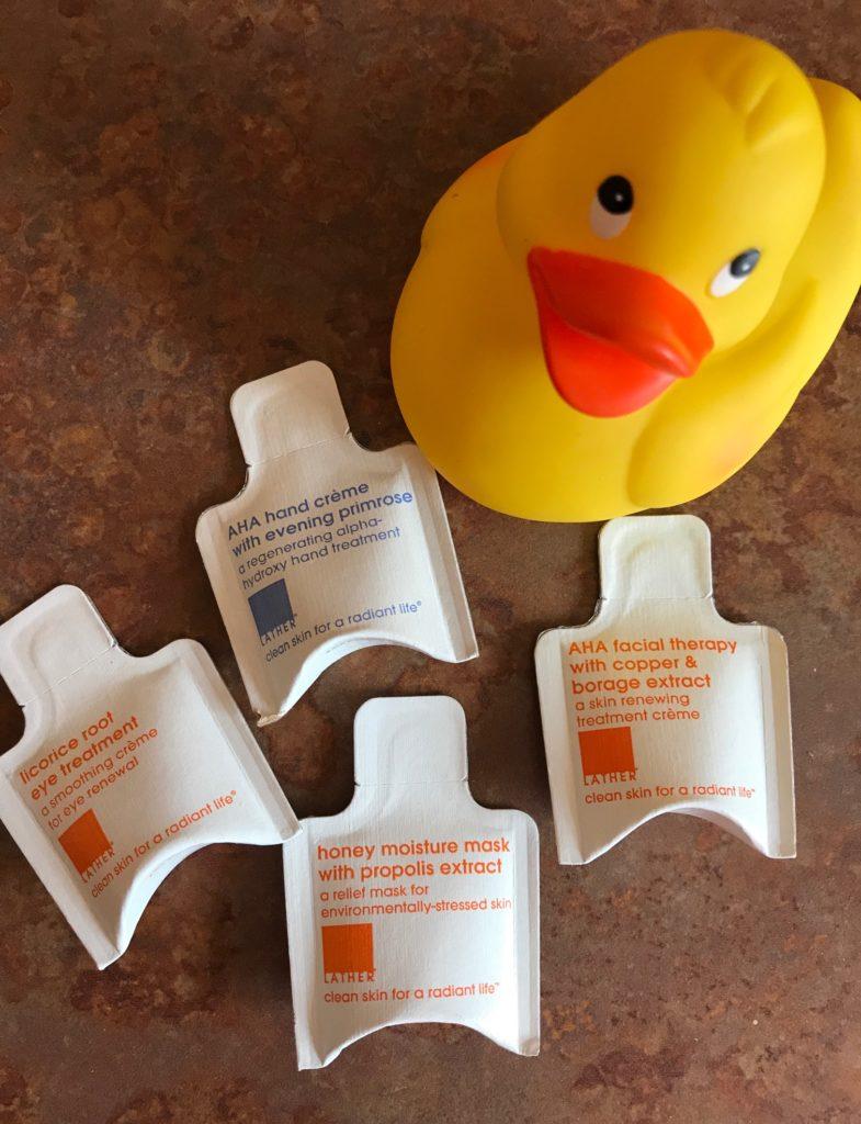 LATHER skincare samples, neversaydiebeauty.com