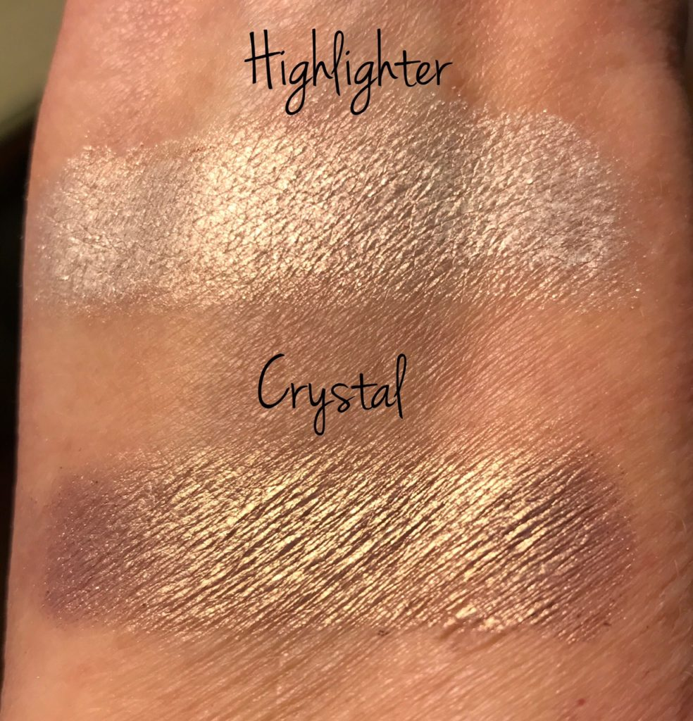 Taste Make Believe shadow palette Highlighter and Crystal swatches, neversaydiebeauty.com