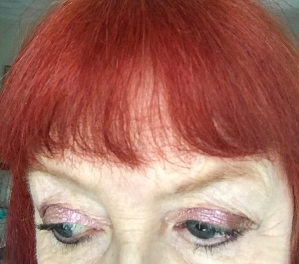 closeup of my eyes wearing Paul & Joe Mon Prince Eye Color Trio, neversaydiebeauty.com