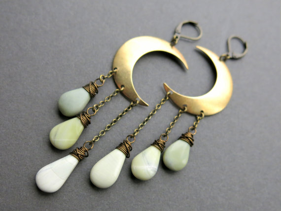crescent moon ombre green gemstone earrings, neversaydiebeauty.com
