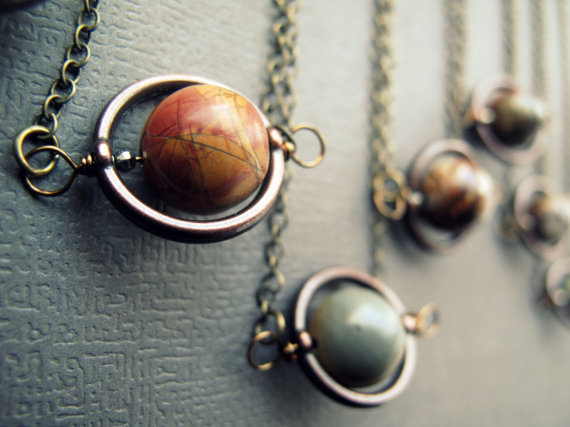 Chrysalism planet/solar system necklace, neversaydiebeauty.com