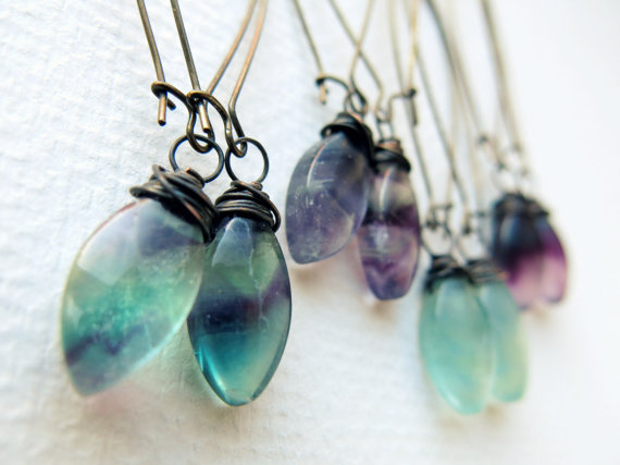 Fluorite crystal dangle earrings from Chrysalism, neversaydiebeauty.com