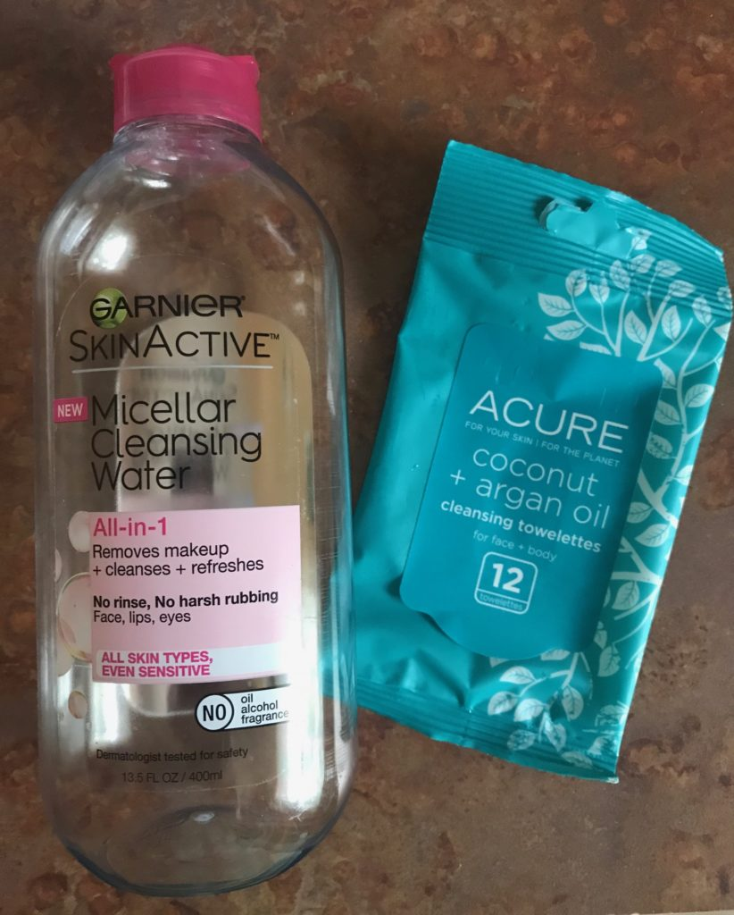 makeup removers: Garnier SkinActive Micellar Water and ACURE Cleansing Towelettes, neversaydiebeauty.com