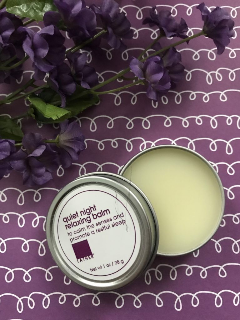 LATHER Quiet Night Relaxing Balm, open to show the balm, neversaydiebeauty.com