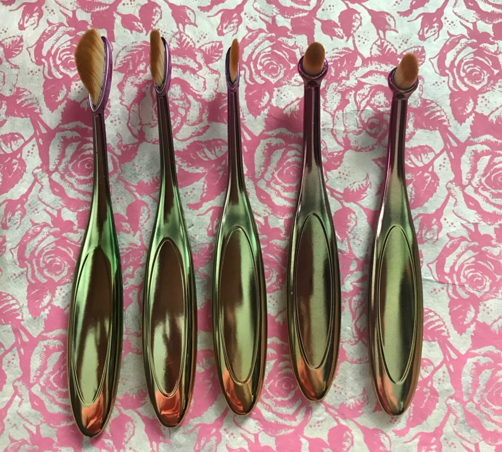 "5 smallest rainbow handled ""Artis-style"" makeup brushes, neversaydiebeauty.com"