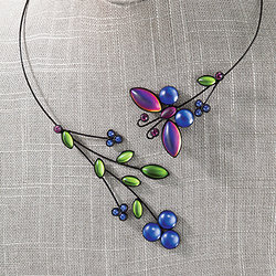 Hanna Czech Glass Butterfly Necklace from Uno Alla Volta