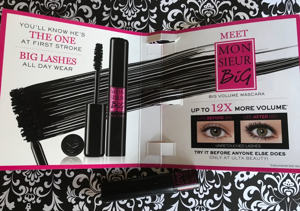 Lancome Monsieur Big mascara promotional materials and tube, neversaydiebeauty.com