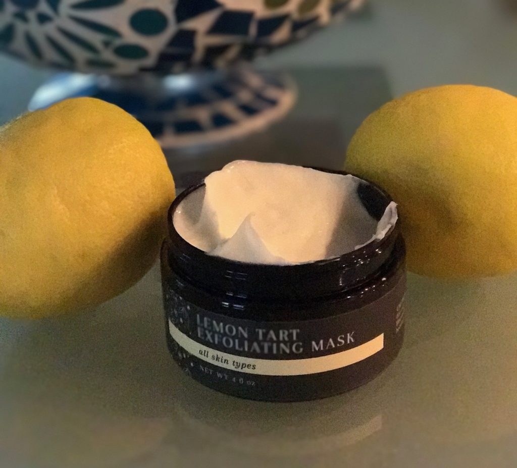 Laurme Lemon Tart Exfoliating Mask, open jar with two lemons, neversaydiebeauty.com
