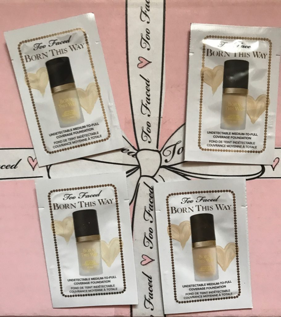 Too Faced Born This Way foundation samples in 4 light shades, neversaydiebeauty.com