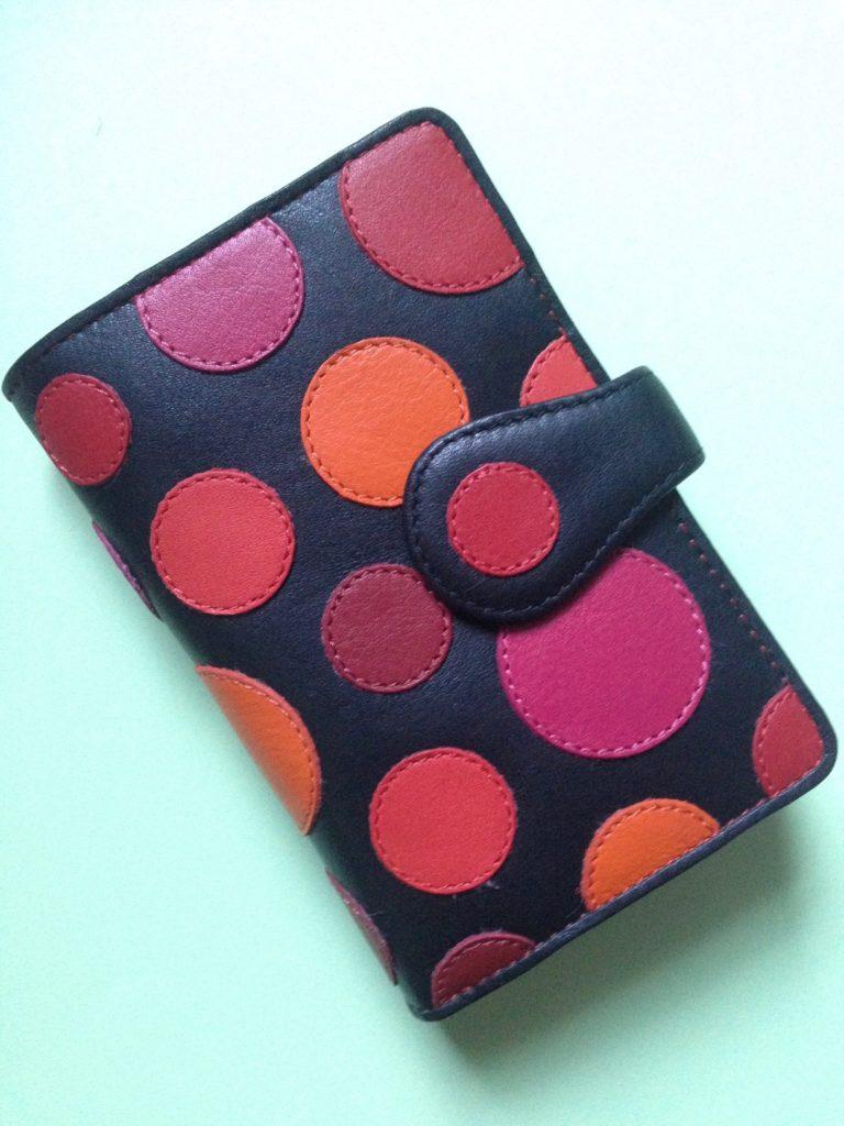 "Visconti Pluto ""Very Berry"" polka dot wallet, neversaydiebeauty.com"