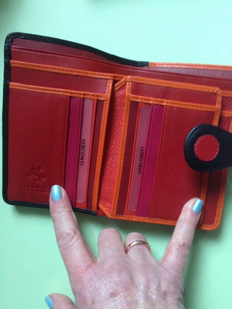 Visconti Pluto wallet interior credit card pockets, neversaydiebeauty.com