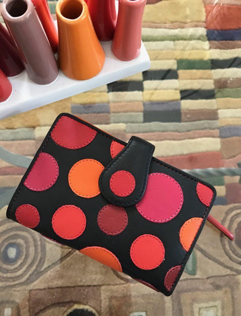 Visconti Pluto Very Berry polka dot wallet, neversaydiebeauty.com