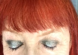 blue-grey eyeshadow with navy mascara from Avon True Color Super Extend