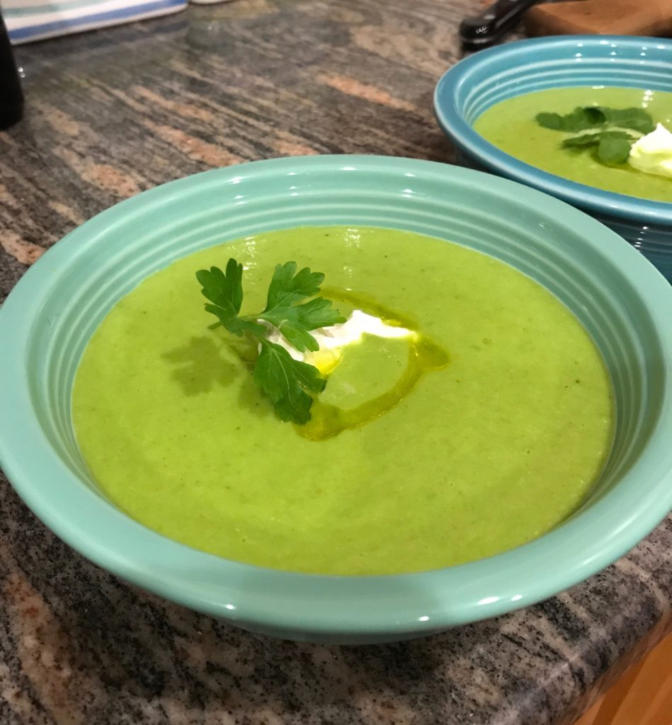 chilled pea soup, neversaydiebeauty.com