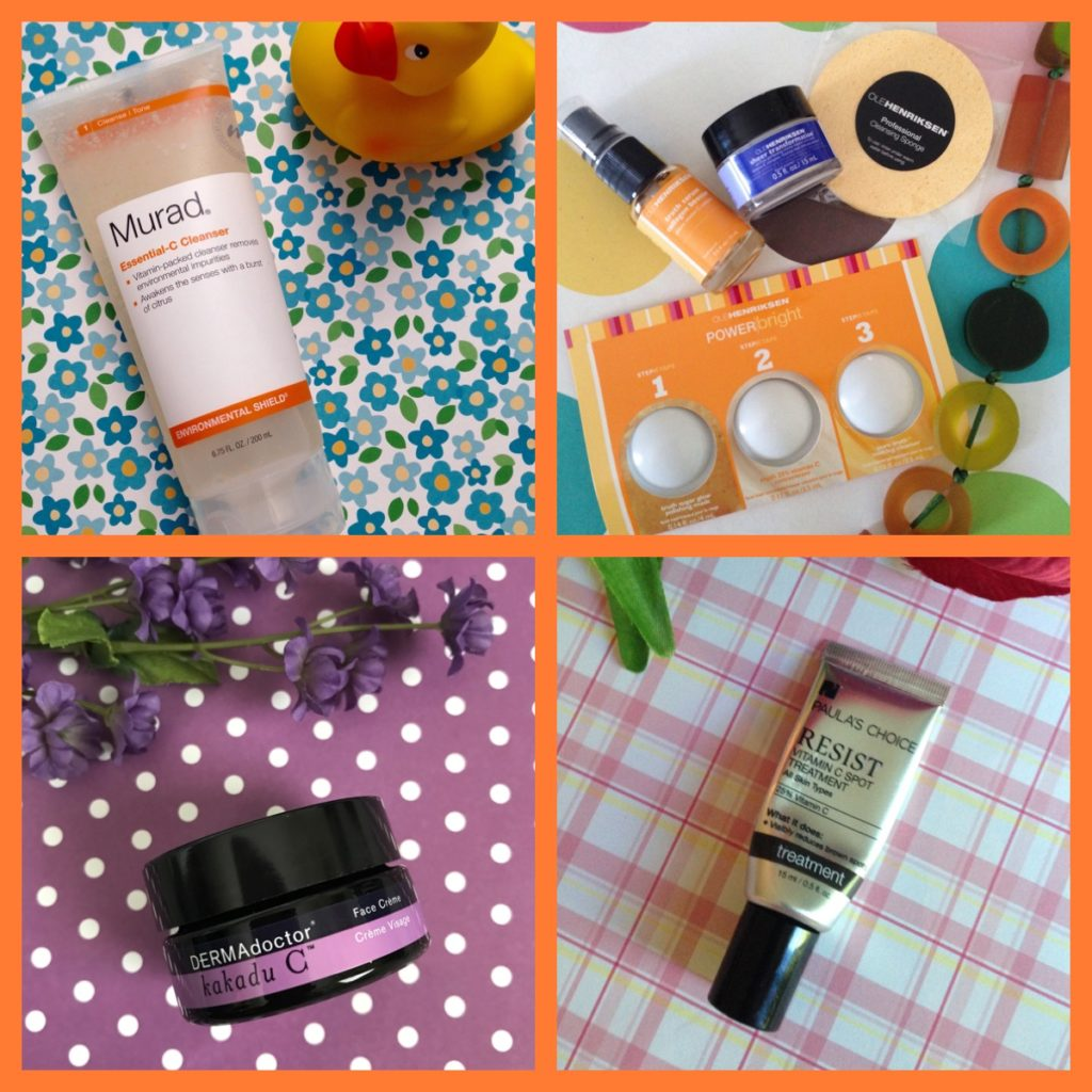 my favorite skincare products with Vitamin C from Murad, Ole Henriksen, DERMAdoctor Kakadu C, Paula's Choice, neversaydiebeauty.com