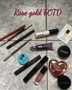 makeup for rose gold FOTD, neversaydiebeauty.com