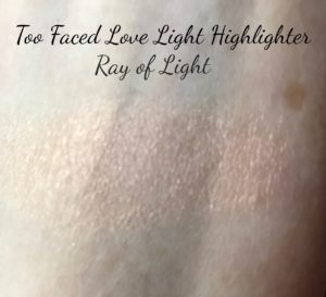 swatch, Too Faced Love Light Highlighter, Ray of Light rose gold