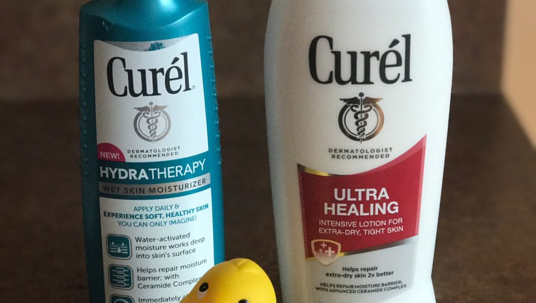 Curel Hydratherapy Wet Moisturizer applied to wet skin & Curel Ultra Healing lotion applied to dry skin, neversaydiebeauty.com