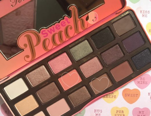 Too Faced Sweet Peach palette with the shades used in my FOTD circled