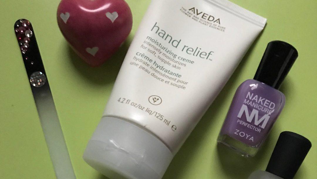 hand cream, nail file and nail polish