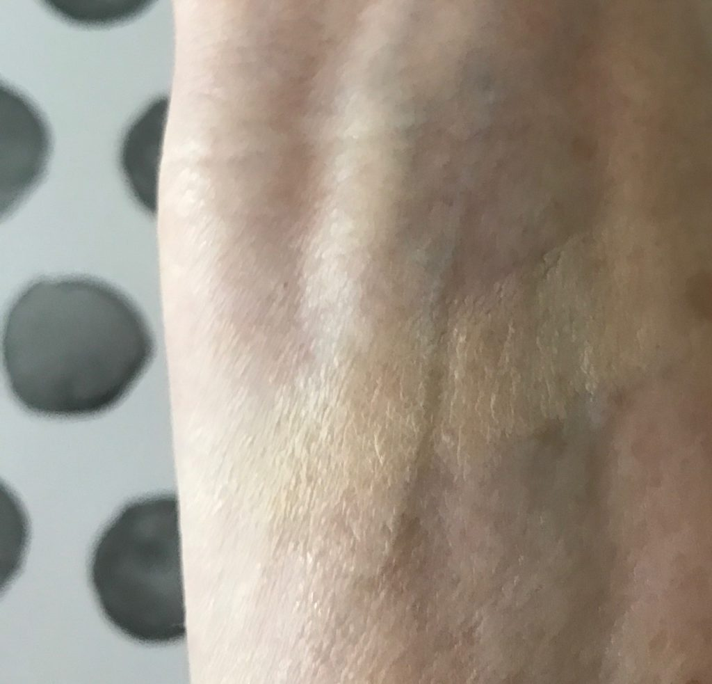 swatch of the lightest shade (10) of Paul & Joe Gel Foundation, neversaydiebeauty.com