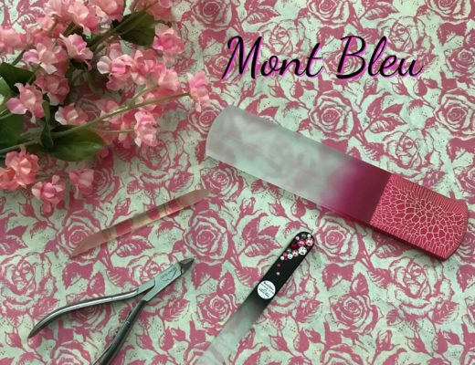 Mont Bleu nail tools: nail file, foot file, nippers, and cuticle pusher, neversaydiebeauty.com