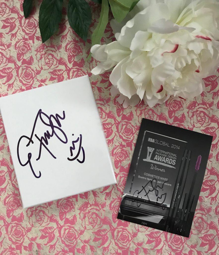 Eddie Funkhouser signature/autograph and Quattro Variabile Lash Mascara Award, neversaydiebeauty.com