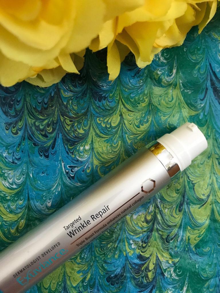 Exuviance Targeted Wrinkle Repair pump top, neversaydiebeauty.com