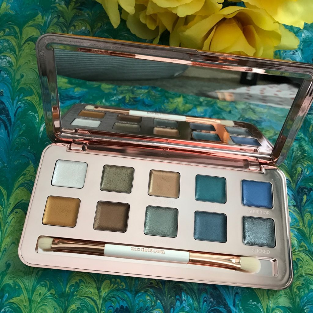 ModelsOwn Colour Chrome eyeshadow palette, open to show the shades, mirror and double-ended brush, neversaydiebeauty.com
