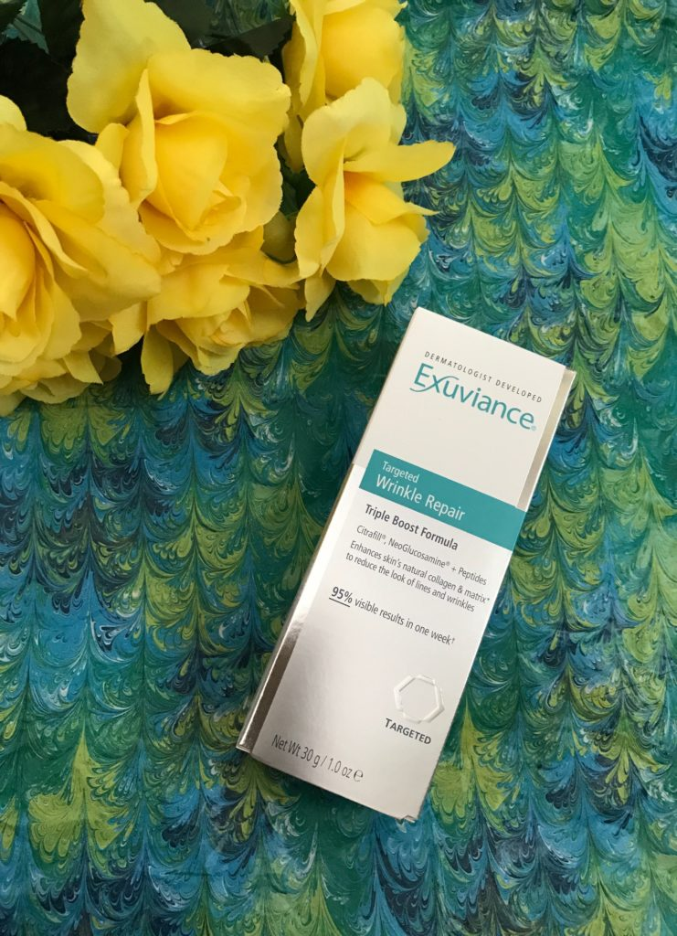 outer box for Exuviance Targeted Wrinkle Repair, neversaydiebeauty.com