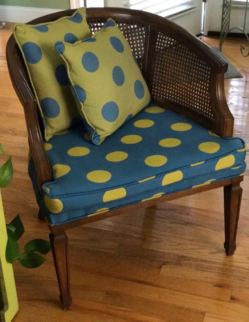 polka dot upholstered Martha Washington chair, neversaydiebeauty.com
