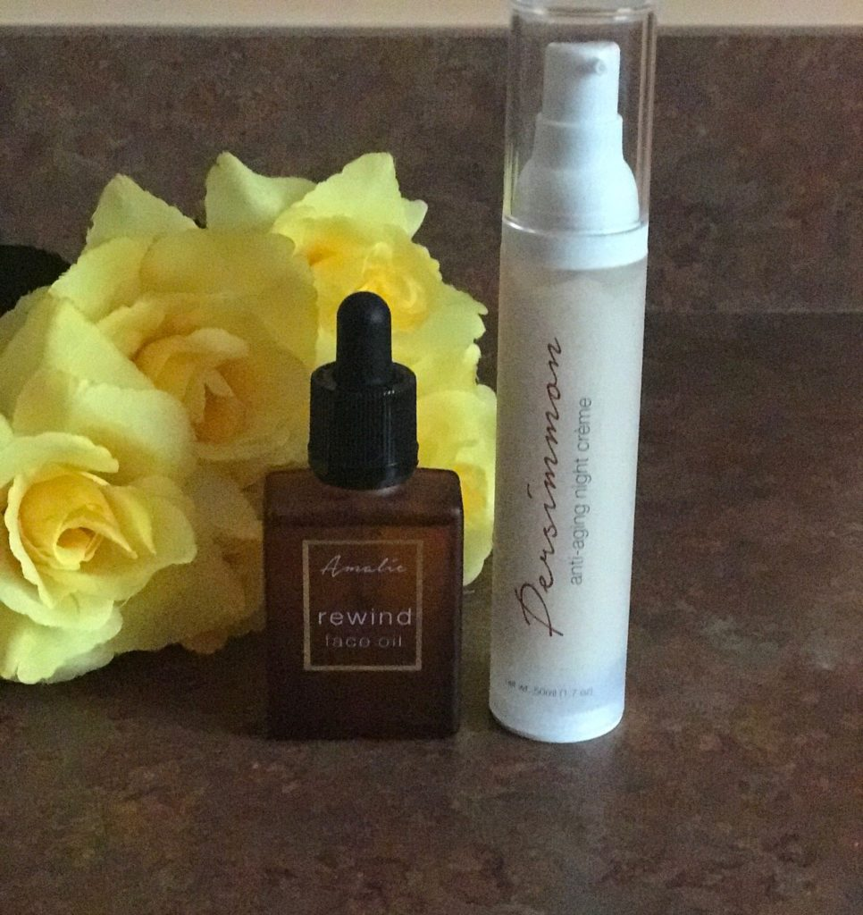Amalie Beauty Rewind Face Oil and Persimmon Anti-aging Night Creme bottles, neversaydiebeauty.com