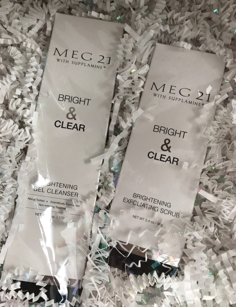 MEG21 Bright & Clear Brightening Cleanser & Exfoliating Scrub in their boxes, neversaydiebeauty.com