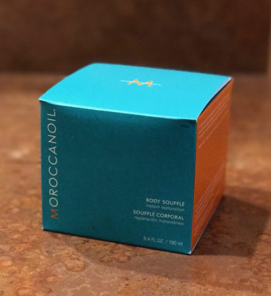 outer box for MoroccanOil Body Souffle, neversaydiebeauty.com
