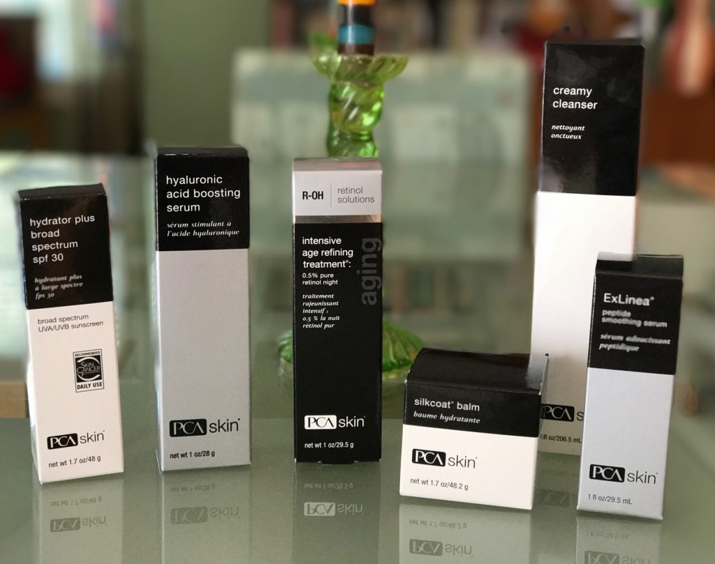 PCA Skin skincare products in their outer packaging, neversaydiebeauty.com