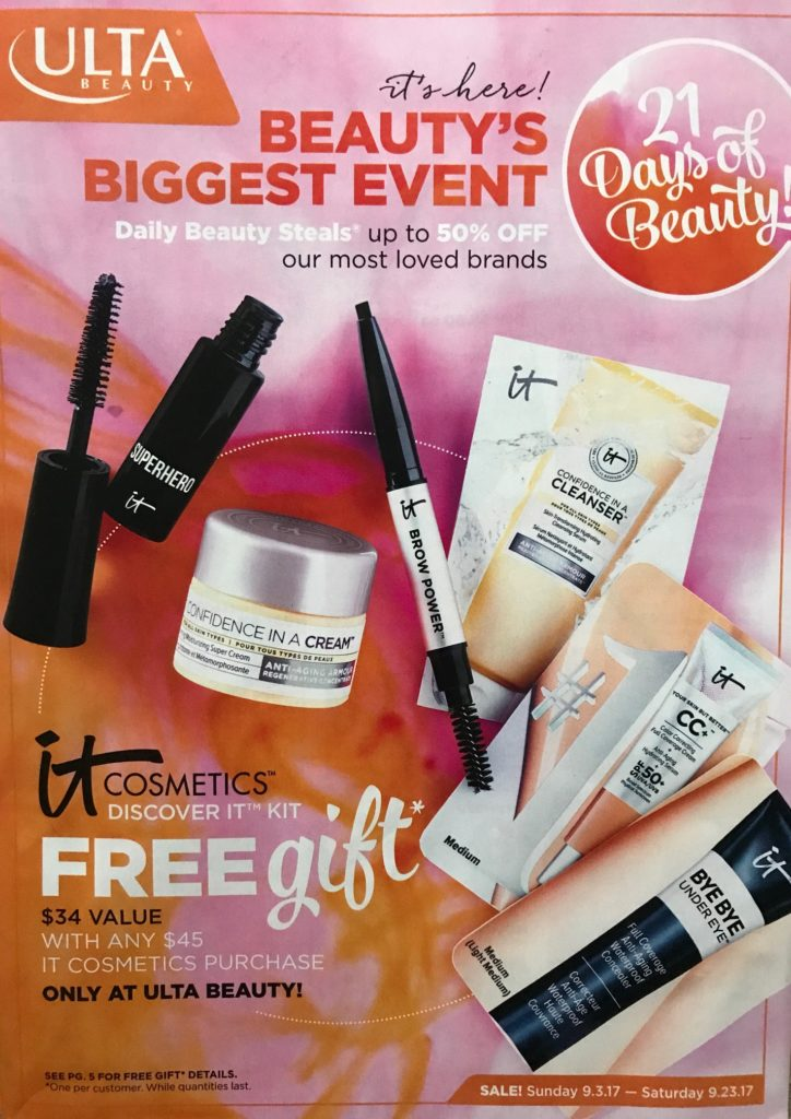 Ulta 21 Days of Beauty September 2017, catalogue cover, neversaydiebeauty.com