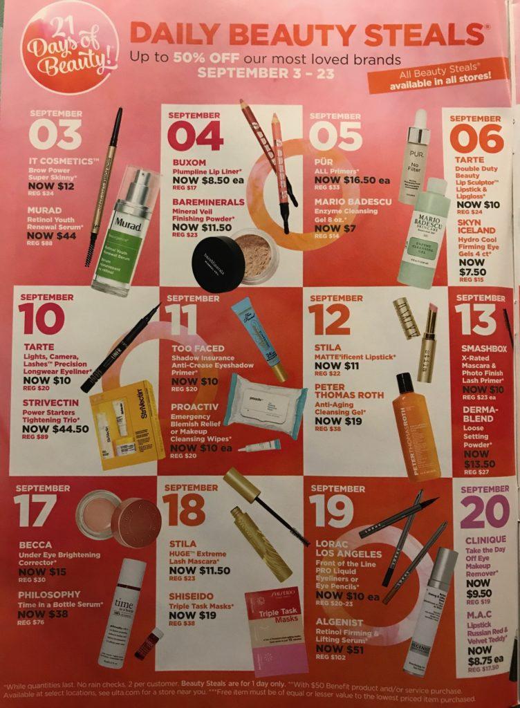 Ulta fall 2017 21 Days of Beauty calendar, page 1, neversaydiebeauty.com